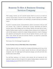 Reasons To Hire A Business Cleaning Services Company.doc