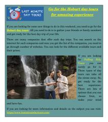 Go for the Hobart day tours for amazing experience.pdf