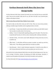 Furniture Removals North Shore Also Serve Your Storage Facility.doc